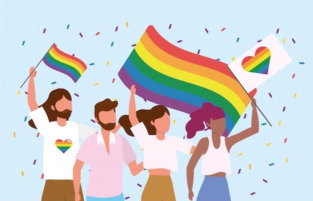 La communauté lgbt ensemble pour célébrer la liberté
