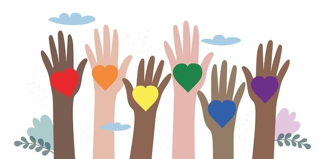 La communauté lgbt de mains de différentes couleurs avec des coeurs arc-en-ciel
