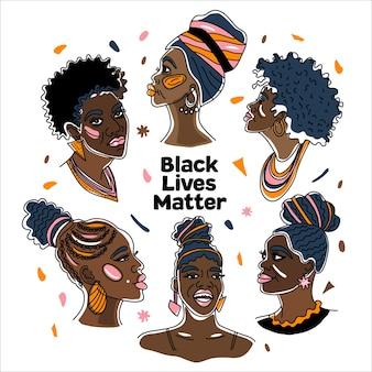Communauté noire, un groupe de femmes africaines tellement battues, les droits de l'homme, luttent contre le racisme.