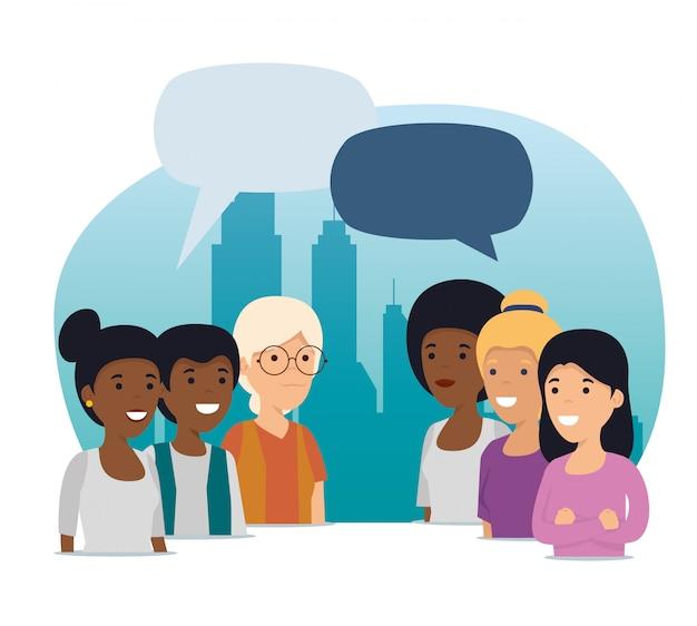 Communauté personnes amis avec collaboration sociale