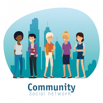Communauté personnes amis avec message social