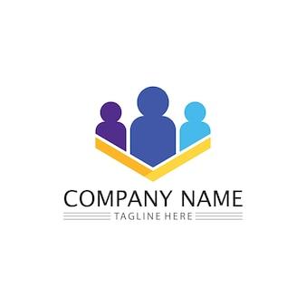 Communauté de personnes, réseau de groupes de soins et vecteur et modèle de conception d'icônes sociales