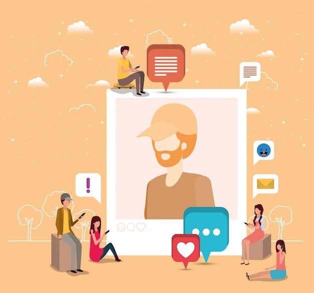 Communauté sociale avec photo de profil homme