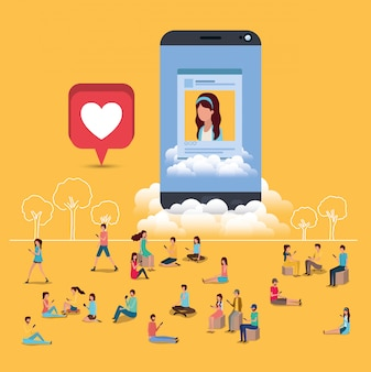 Communauté sociale avec smartphone