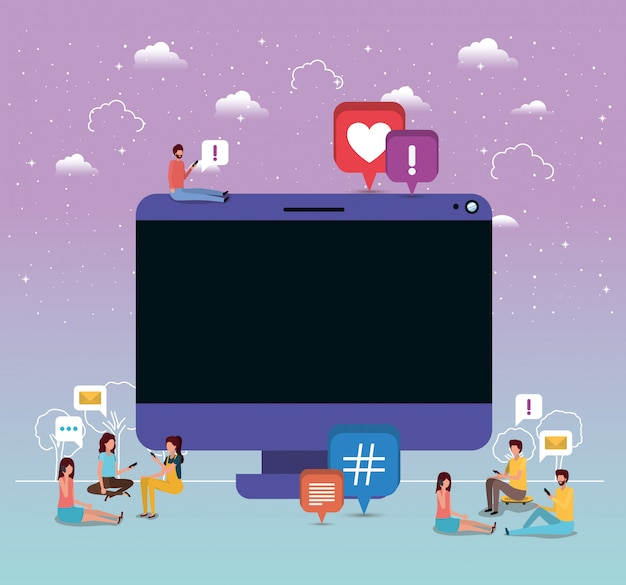 Communauté sociale utilisant des smartphones avec un ordinateur