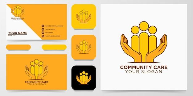 Communauté, soins des mains logo design vector illustration