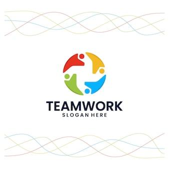 Communauté, solidarité, modèle de logo
