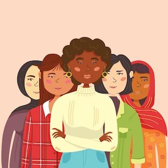 Une communauté unie de femmes de différentes nationalités se tient les unes derrière les autres. fête de l'indépendance des femmes. vacances 8 mars. personnages féminins isolés de vecteur. style plat