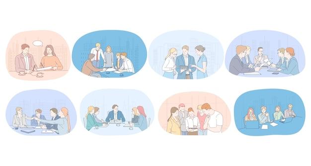 Communication, affaires, travail d'équipe, brainstorming, présentation, concept d'accord. hommes d'affaires