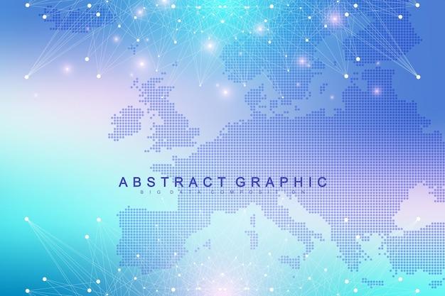 Communication d'arrière-plan graphique géométrique avec la carte de l'europe. complexe de données volumineuses avec des composés. toile de fond de perspective. tableau minimal. visualisation des données numériques. illustration vectorielle cybernétique scientifique.