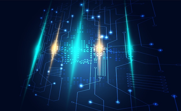 Communication de circuit numérique de technologie moderne sur bleu