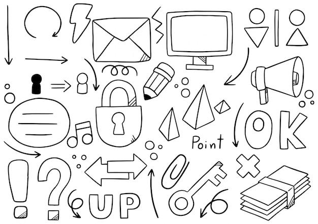 Communication élémentaire doodle dessiné à la main