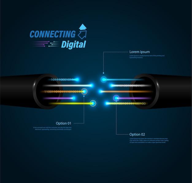 Communication d'entreprise avec connexion par fibre optique.