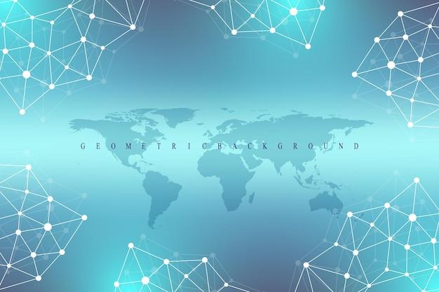 Communication de fond graphique géométrique avec la carte du monde. complexe de données volumineuses avec des composés. toile de fond de perspective. tableau minimal. visualisation des données numériques. illustration vectorielle cybernétique scientifique.