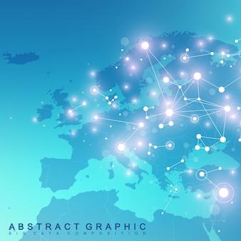 Communication de fond graphique géométrique avec la carte de l'europe. complexe de big data avec des composés. toile de fond de perspective. tableau minimal. visualisation des données numériques. illustration cybernétique scientifique.