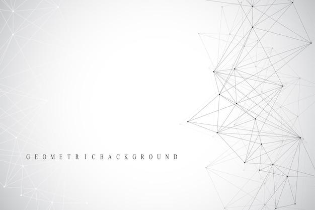Communication de fond graphique géométrique. connexions réseau mondiales. complexe filaire avec composés. toile de fond de perspective. visualisation des données numériques. vecteur cybernétique scientifique.