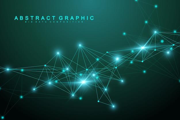 Communication de fond graphique de technologie géométrique avec des lignes et des points connectés.