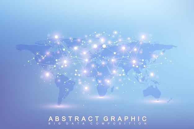 Communication graphique abstrait. complexe de données volumineuses avec des composés. toile de fond perspective avec carte du monde. tableau minimal big data. visualisation des données numériques. illustration vectorielle scientifique.