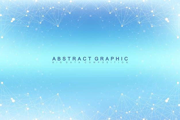 Communication graphique abstrait. visualisation des mégadonnées. toile de fond en perspective avec des lignes et des points connectés. réseautage social. illusion de profondeur. illustration vectorielle.