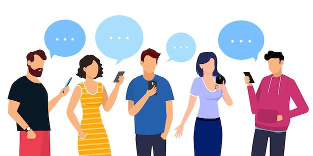 Communication des hommes et des femmes. icônes de personnes avec des bulles. illustration