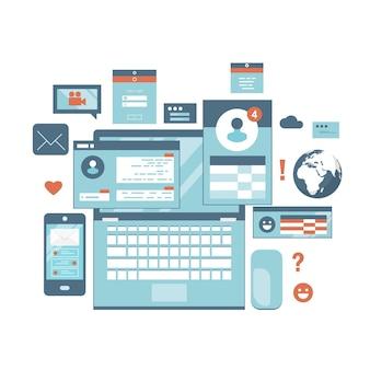 Communication internet en ligne de réseau de médias sociaux