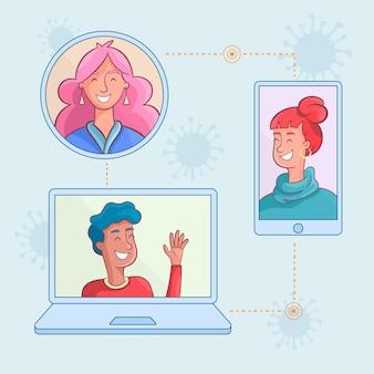 Communication en ligne avec distanciation sociale