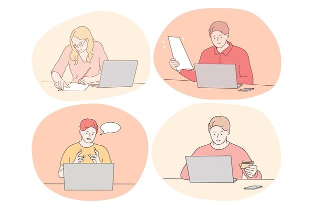 Communication en ligne, e-learning, travail à distance, concept en ligne payant.