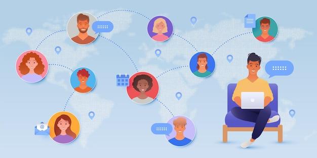 Communication en ligne avec un homme utilisant un ordinateur portable et des icônes de personnes sur fond de carte du monde