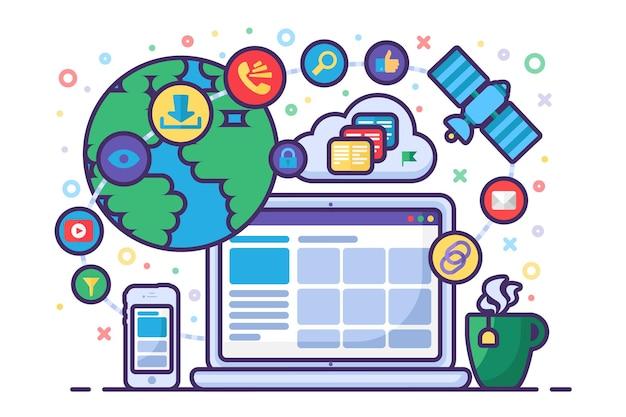 Communication sur les médias sociaux et concept de réseau mondial