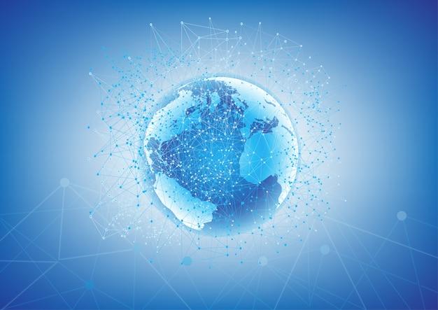 Communication mondiale abstraite et connexion de données.