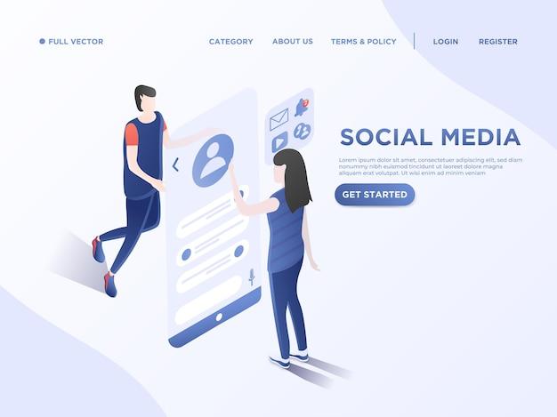 Communication des personnes via les médias sociaux chat 3d illustration isométrique vectorielle