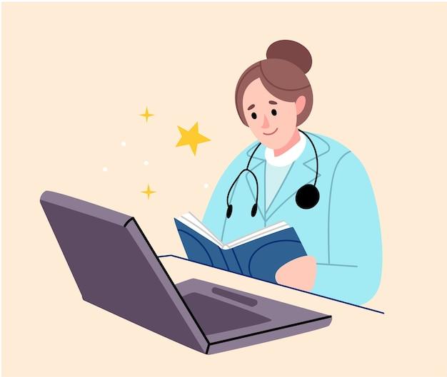 Communication Vidéo, Consultation Avec Un Médecin En Ligne.le Médecin Donne Des Informations Sur Le Traitement Et L'état De Santé. Vecteur Premium