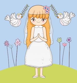 Communion fille avec robe et fleurs plantes
