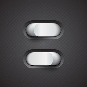 Commutateur à bascule blanc 3d. modes marche et arrêt. conception de commutateur réaliste. illustration eps10.