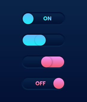 Commutateur de curseur à bascule en mode sombre. éléments de l'interface utilisateur web