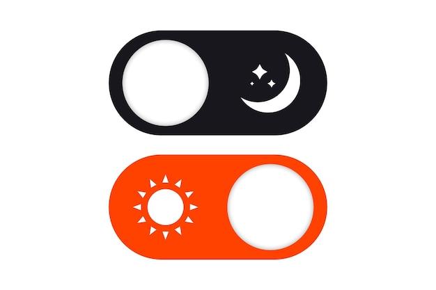 Commutateur de mode jour et nuit. on off switch element pour l'application mobile, la conception web, l'animation. boutons clairs et sombres. passez en mode sombre ou clair. boutons clair et foncé