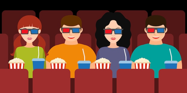 Compagnie de deux couples au cinéma dans des lunettes 3d