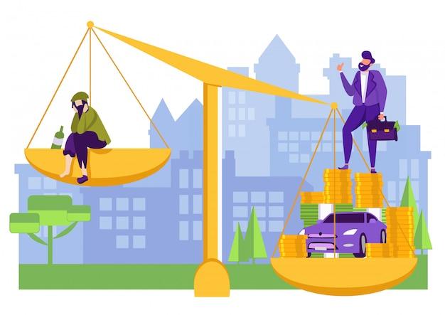 Comparaison entre hommes riches et pauvres sur une balance.