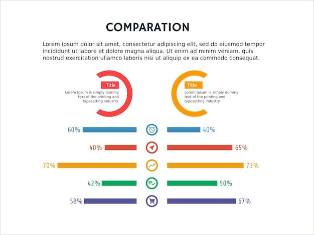 Comparaison infographique comparer le modèle et le point de puissance