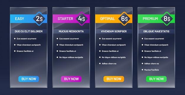 Comparaison des plans tarifaires vitreux. liste de prix, acheter des bannières et un tableau de prix du site web ensemble de verre transparent