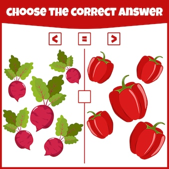 Comparez les nombres plus, moins ou égal jeu mathématique éducatif