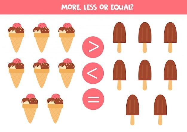 Comparez la quantité de glaces. plus, moins ou égal.