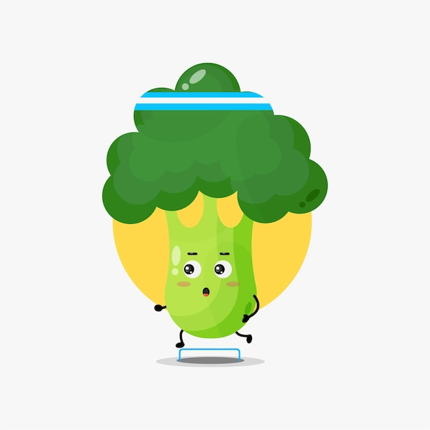 Compétition de course de caractère drôle de brocoli