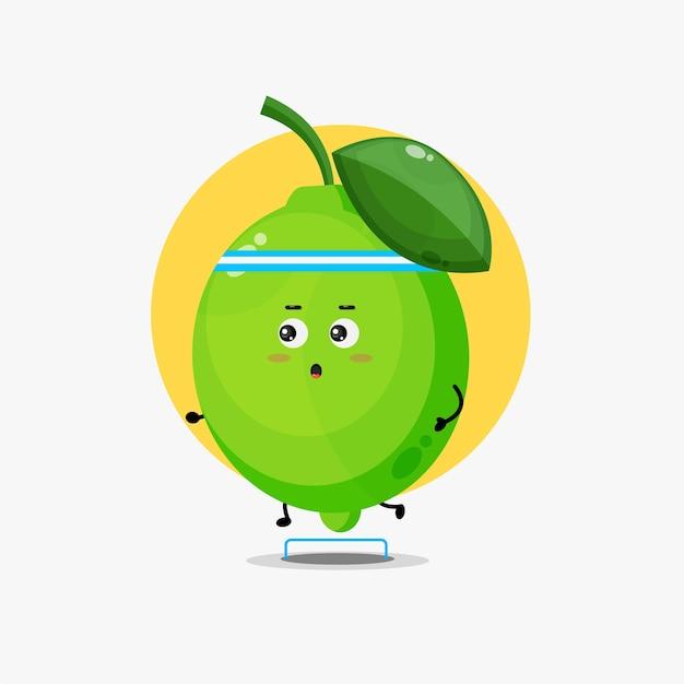 Compétition de course drôle de personnage de citron vert