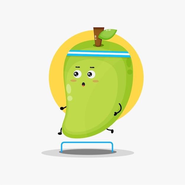 Compétition de course de personnage de mangue mignon