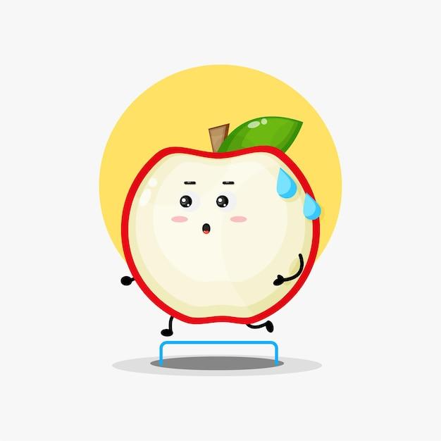 Compétition de course de personnage de pomme mignon