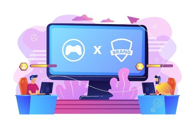 Compétition cybersport. joueurs de jeu de marque jouant. collaboration esports, concept de partenariat.