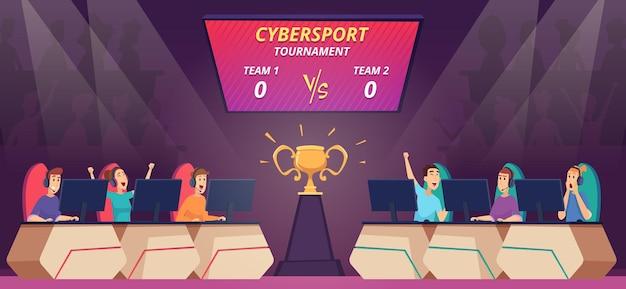 Compétition cybersportive. les téléspectateurs regardent un match de jeu vidéo sur une arène de cybersport télévisée sur grand écran