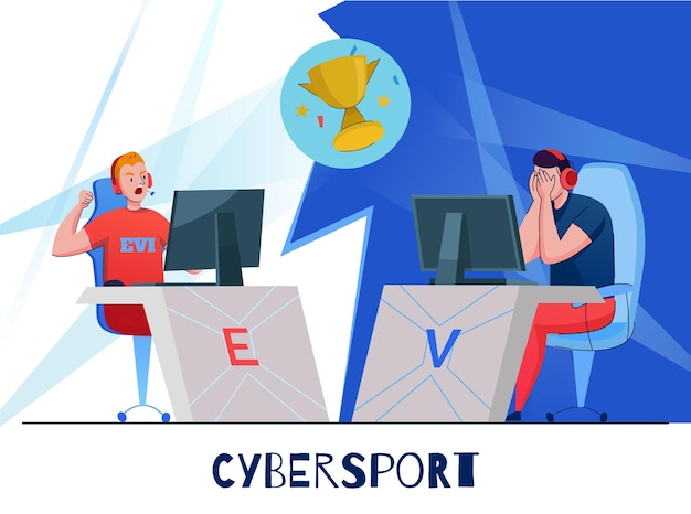 Compétition d'équipe cyber sport de joueurs de jeux informatiques en ligne avec illustration de la coupe