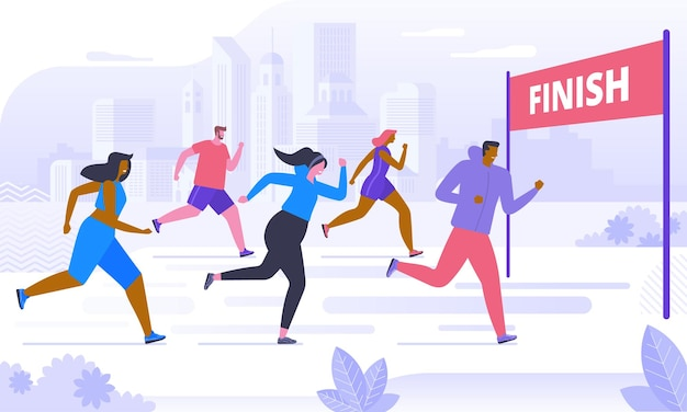 Compétition de marathon, entraînement ou exercice en plein air, athlétisme. hommes et femmes vêtus de vêtements de sport faisant du jogging ou courant dans le parc. mode de vie sain et actif. illustration vectorielle coloré de dessin animé plat.